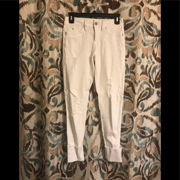 YMI Denim - WBB White Cuffed/Cropped Distressed Pants